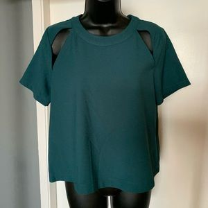 like new Anthro ASTR green cutout short slv blouse